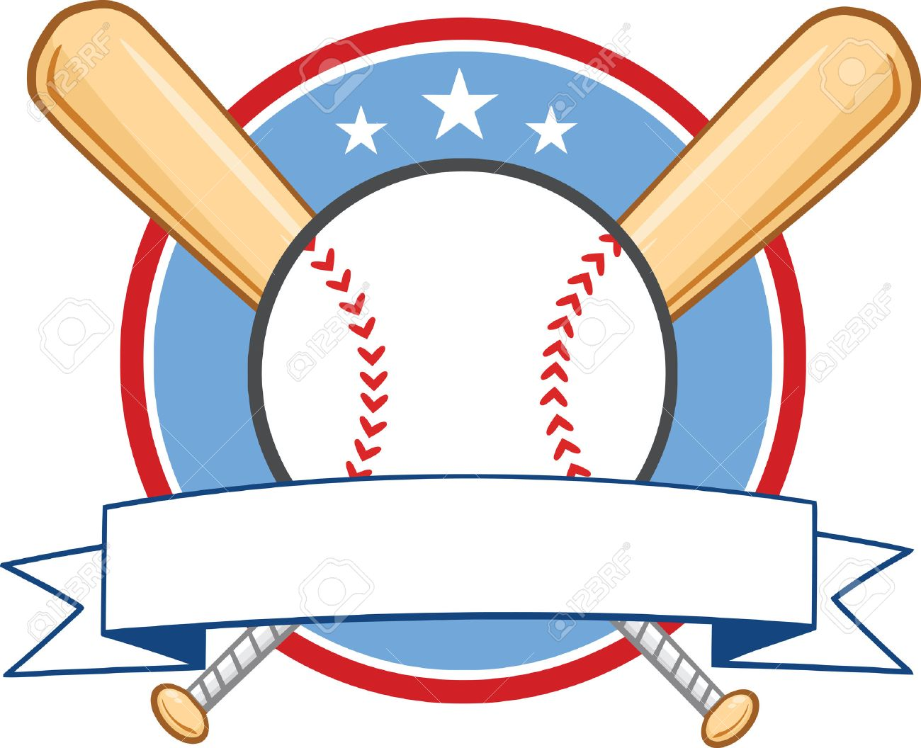 baseball banner with two bats and ball illustration isolated rh 123rf com Baseball Bat Grip Baseball Bat Border
