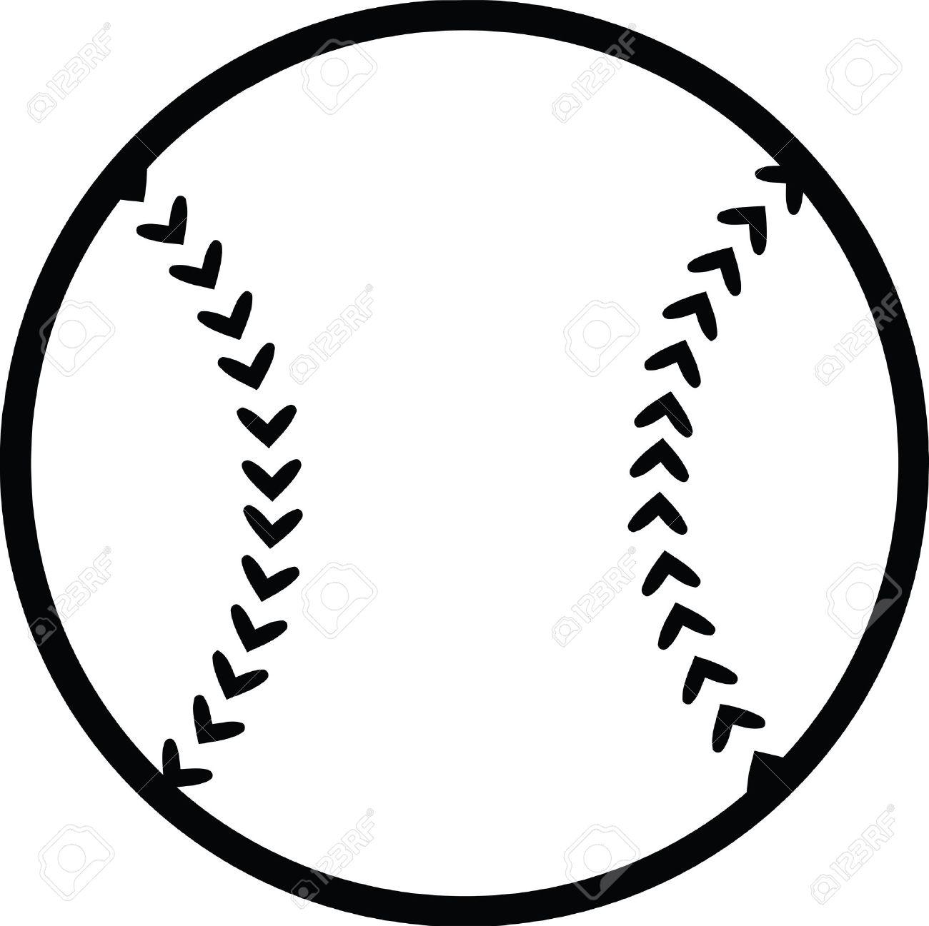 Black and White Baseball Ball Illustration Isolated on white - 28012641