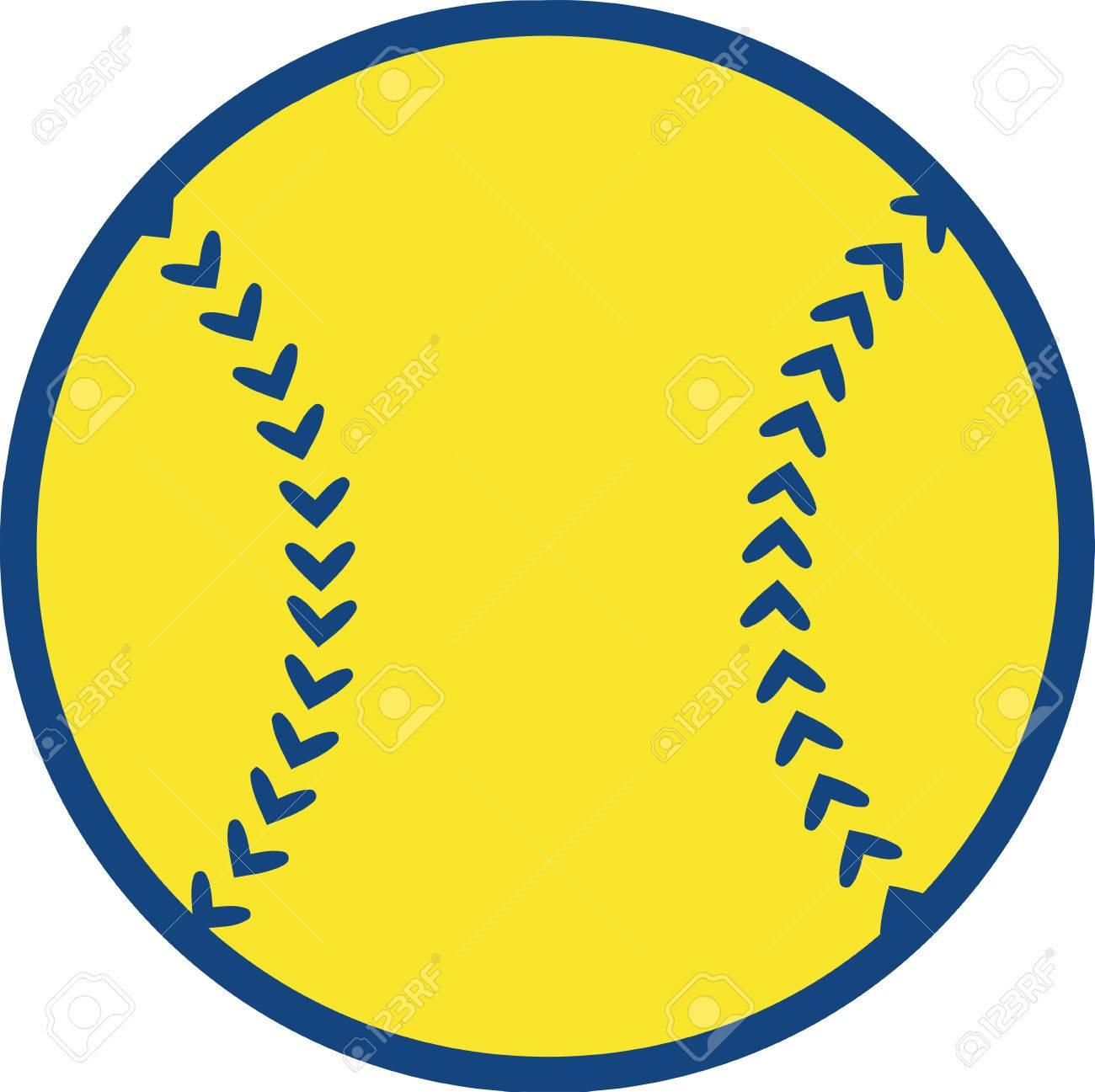 黄色野球ボール イラスト分離白 ロイヤリティフリークリップアート