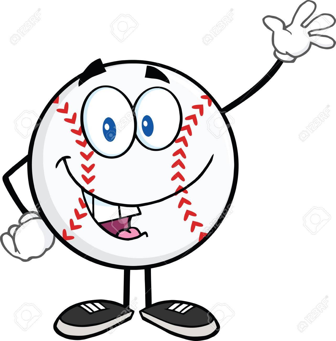 野球ボール漫画マスコット キャラクターを振っての挨拶イラスト分離白