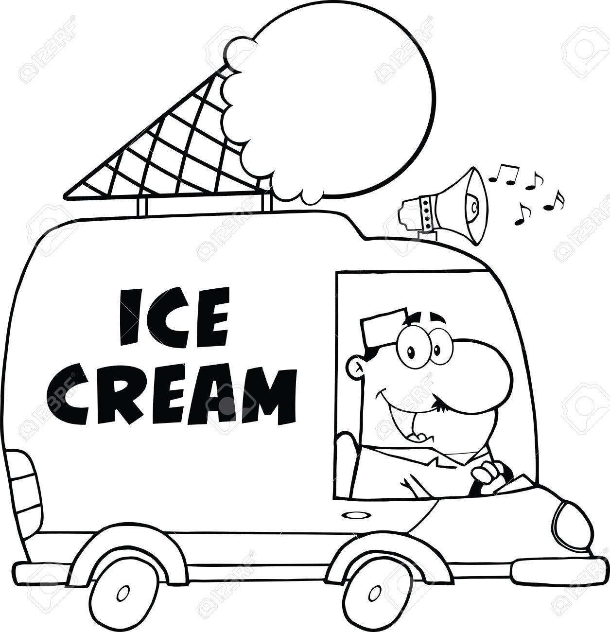 Black And White Happy Ice Cream Man Driving Truck Royalty Free