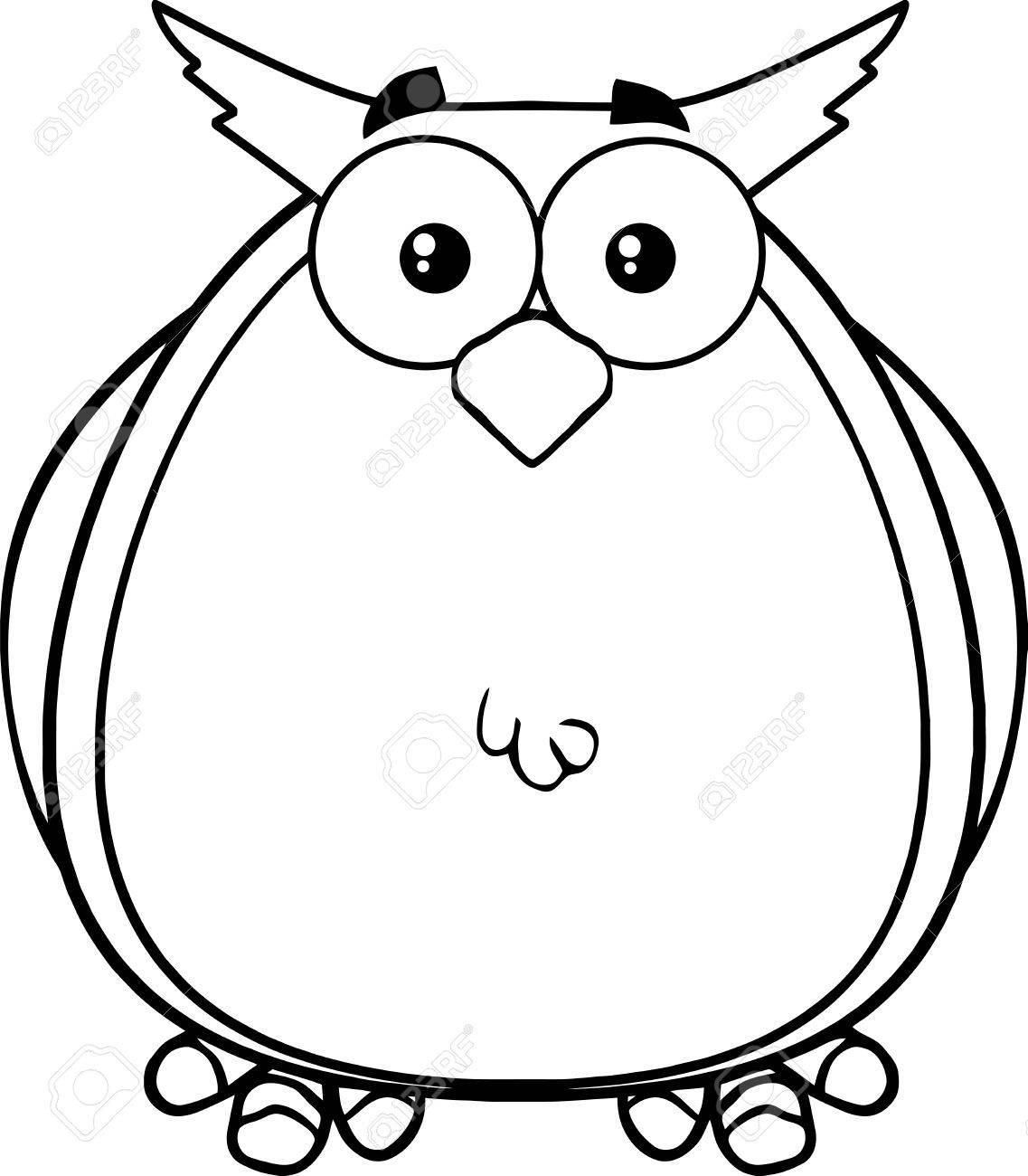 Black And White Owl Cartoon Mascot Karakter Illustratie Geïsoleerd