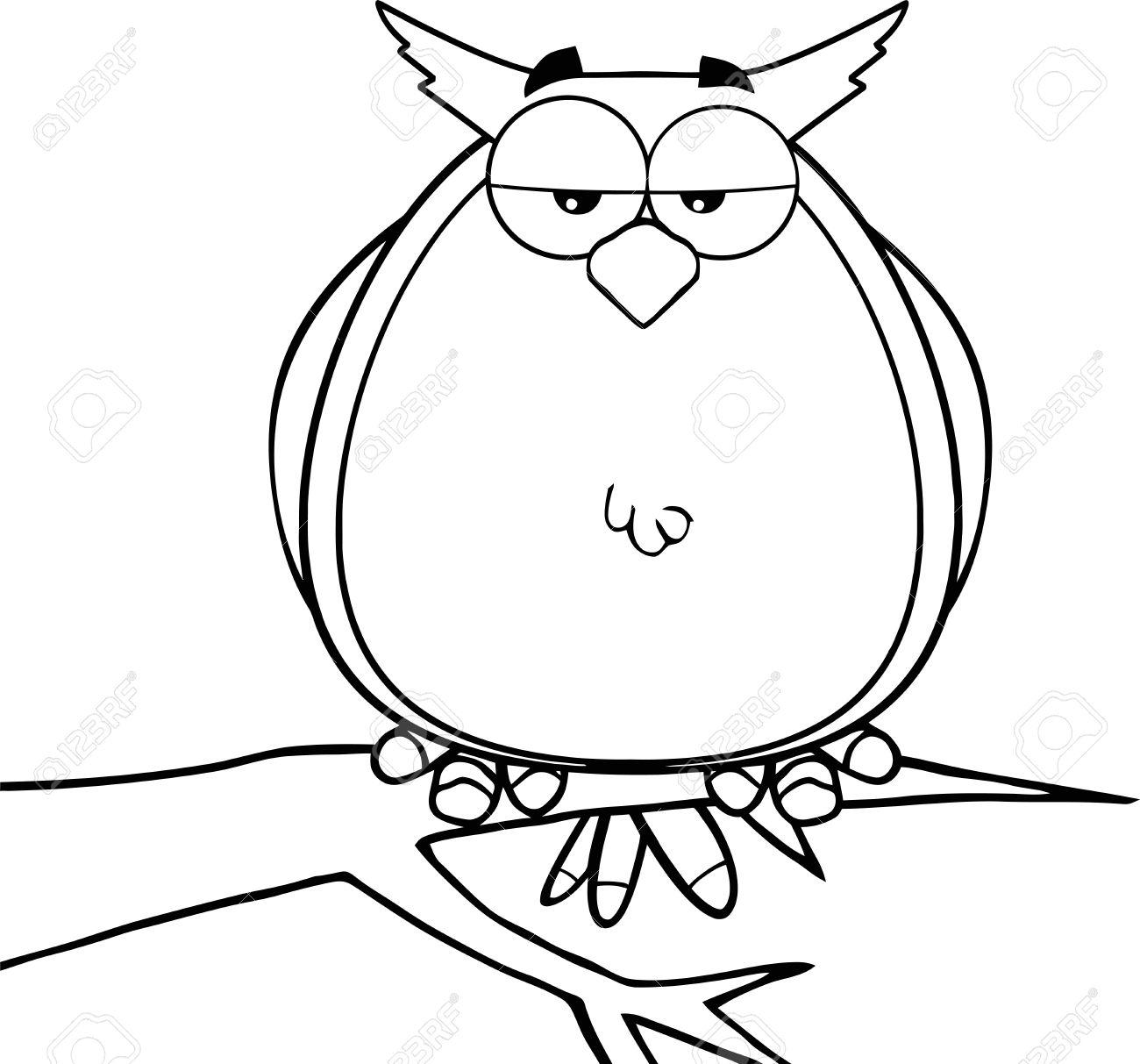 black and white owl on tree cartoon character illustration