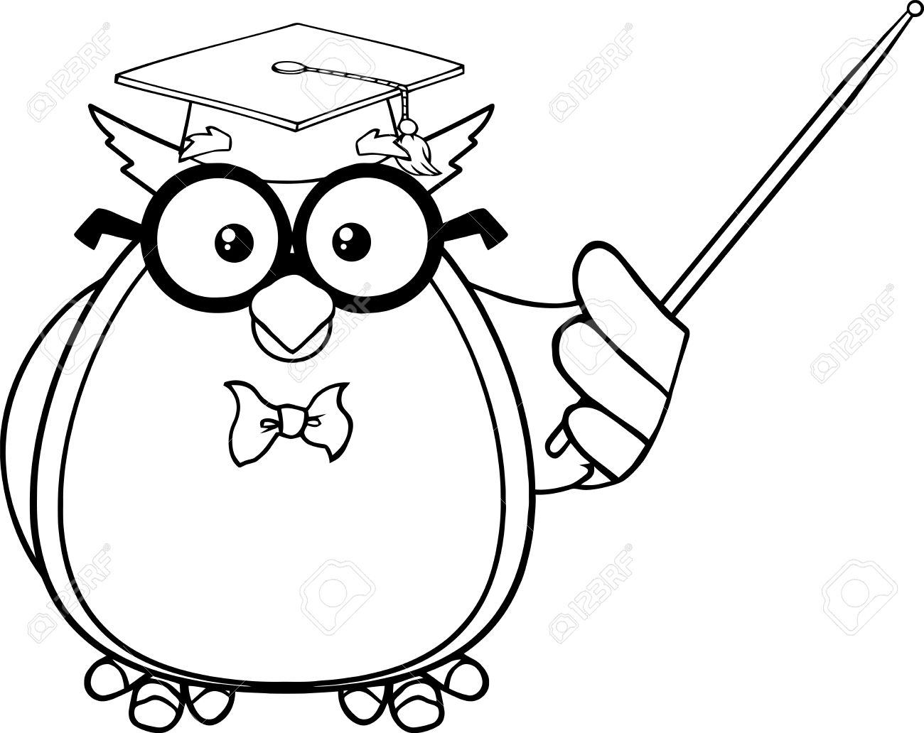 black and white wise owl teacher cartoon mascot character with rh 123rf com snowy owl black and white clipart owl black and white clipart