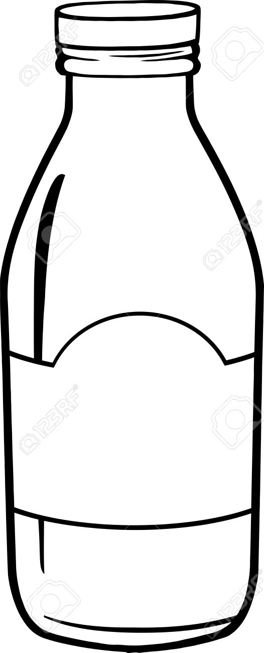 black and white cartoon milk bottle royalty free cliparts vectors
