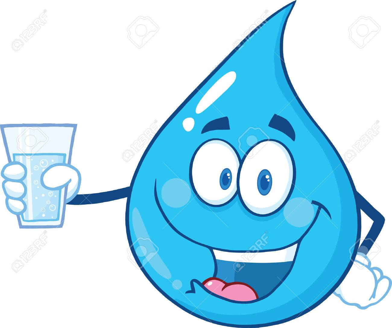 Water Drop Character Holding A Water Glass. Illustration Isolated On White Background - 33669062