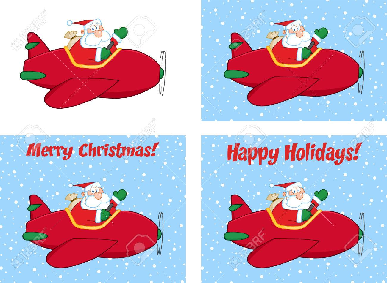 Merry christmas greeting with santa claus flying a plane and merry christmas greeting with santa claus flying a plane and waving collection set stock vector kristyandbryce Choice Image