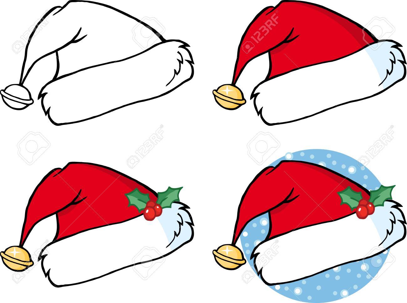Christmas Hat Cartoon.Cartoon Christmas Santa Hat Collection Set