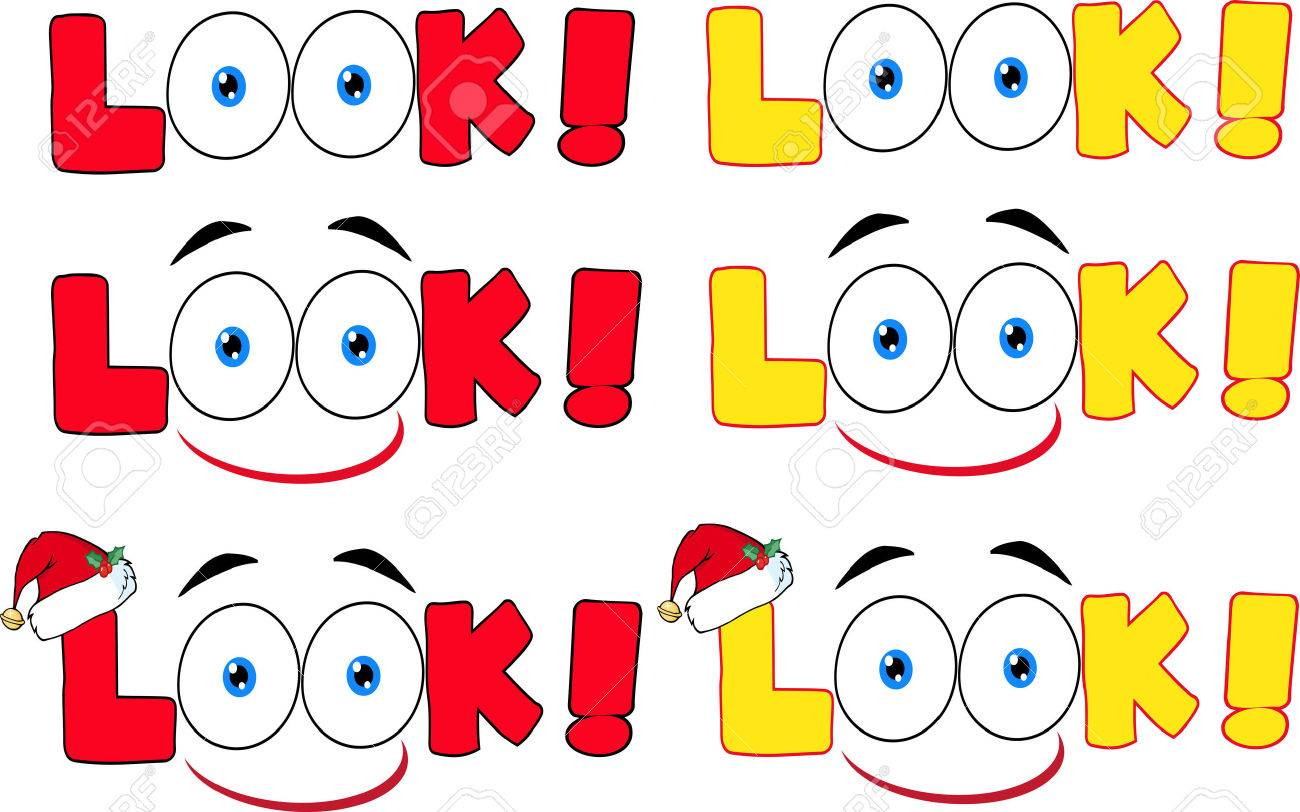 Cartoon Look Text With Santa Hat And Eyes. Collection Set - 34398747