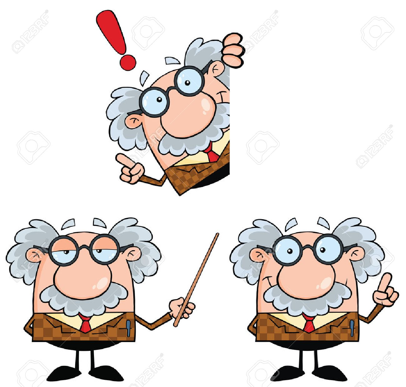 Funny Professor Cartoon Character. Collection Set - 34910462