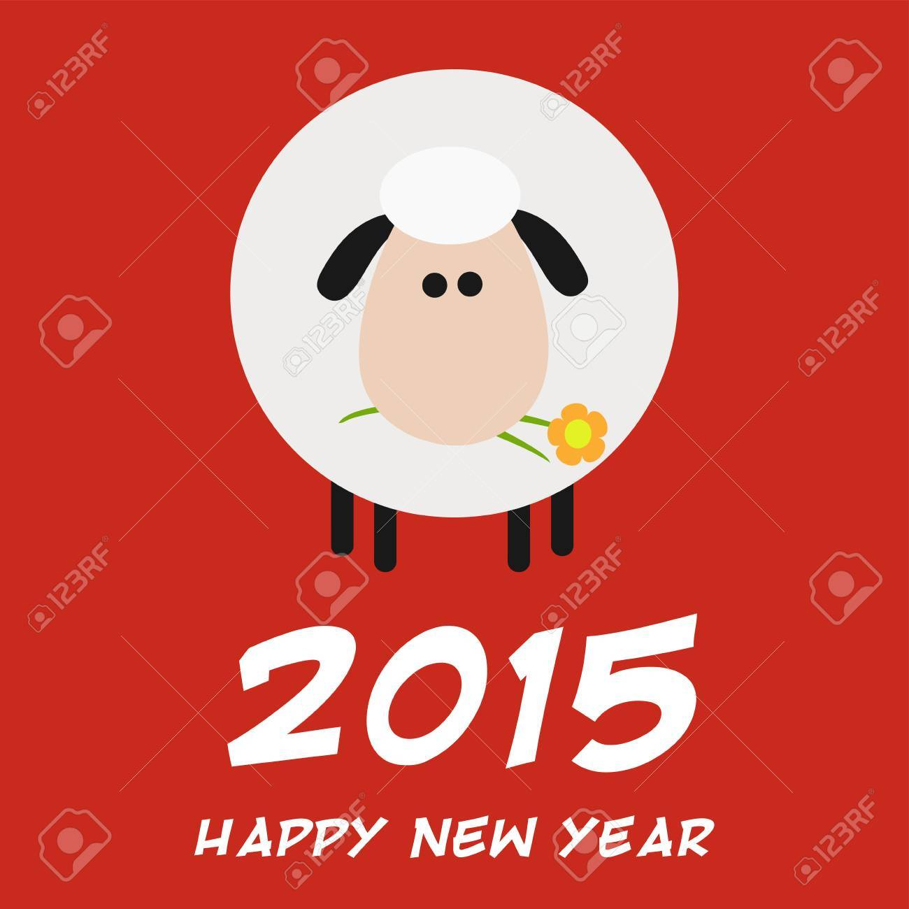 vector white sheep with a flower modern flat design new year card