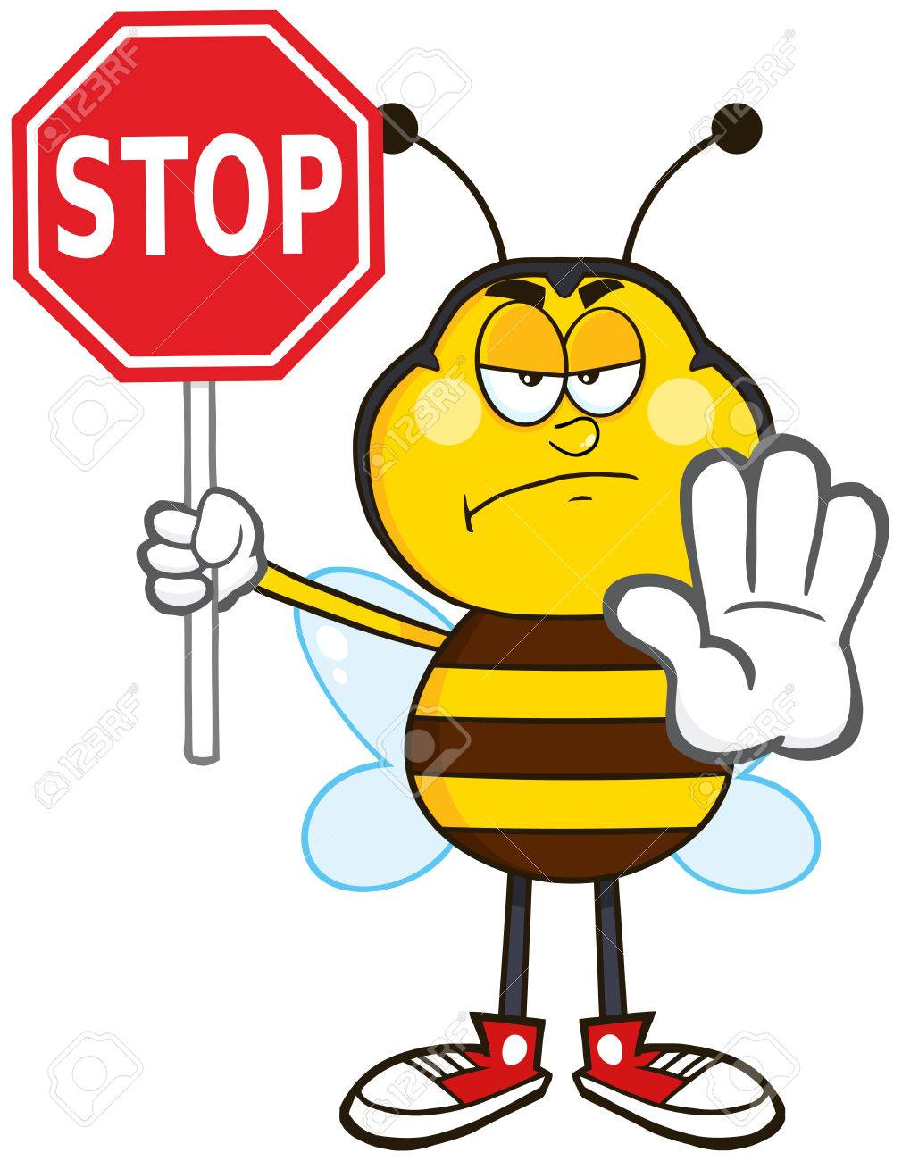 angry bee cartoon mascot character holding a stop sign illustration rh 123rf com stop sign cartoon clip art stop sign cartoon black and white