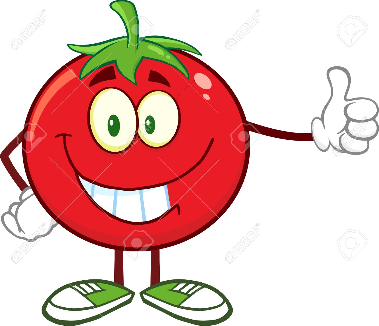 Smiling Tomato Cartoon Mascot Character Giving A Thumb Up. Illustration Isolated On White - 36453761