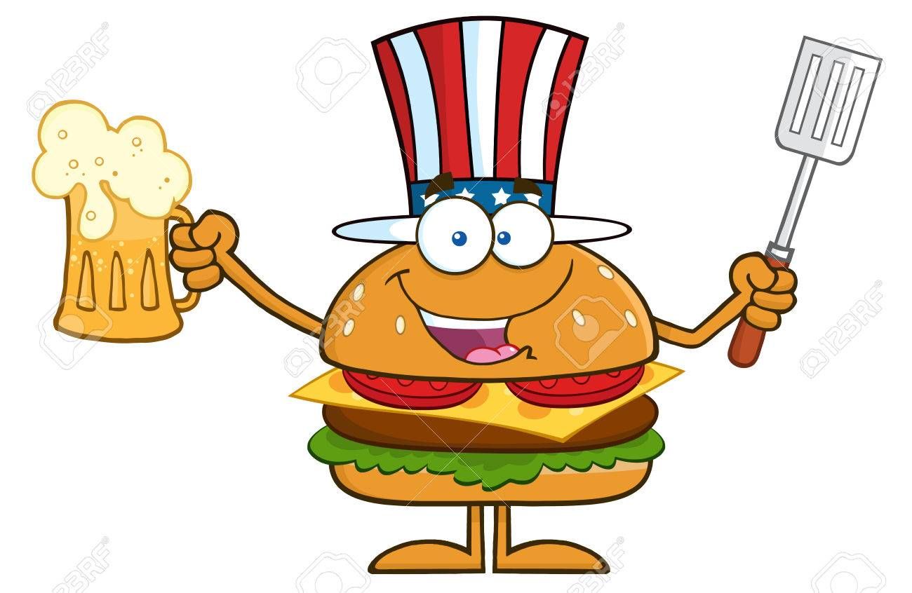 Happy American Hamburger Cartoon Character Holding A Beer And Bbq Slotted Spatula. Illustration Isolated On White - 37749413