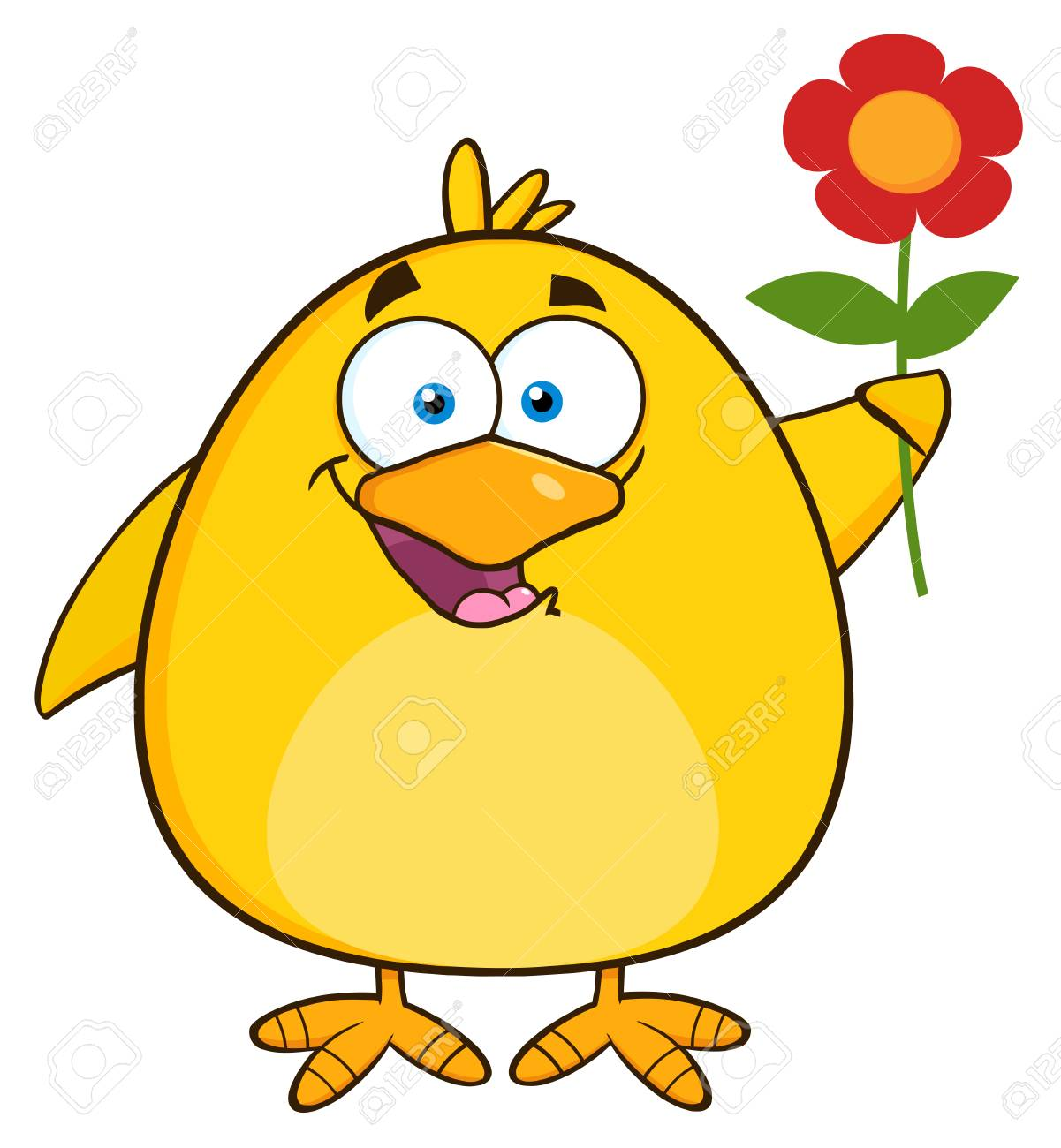 Happy yellow chick cartoon character with a red daisy flower happy yellow chick cartoon character with a red daisy flower illustration isolated on white stock izmirmasajfo