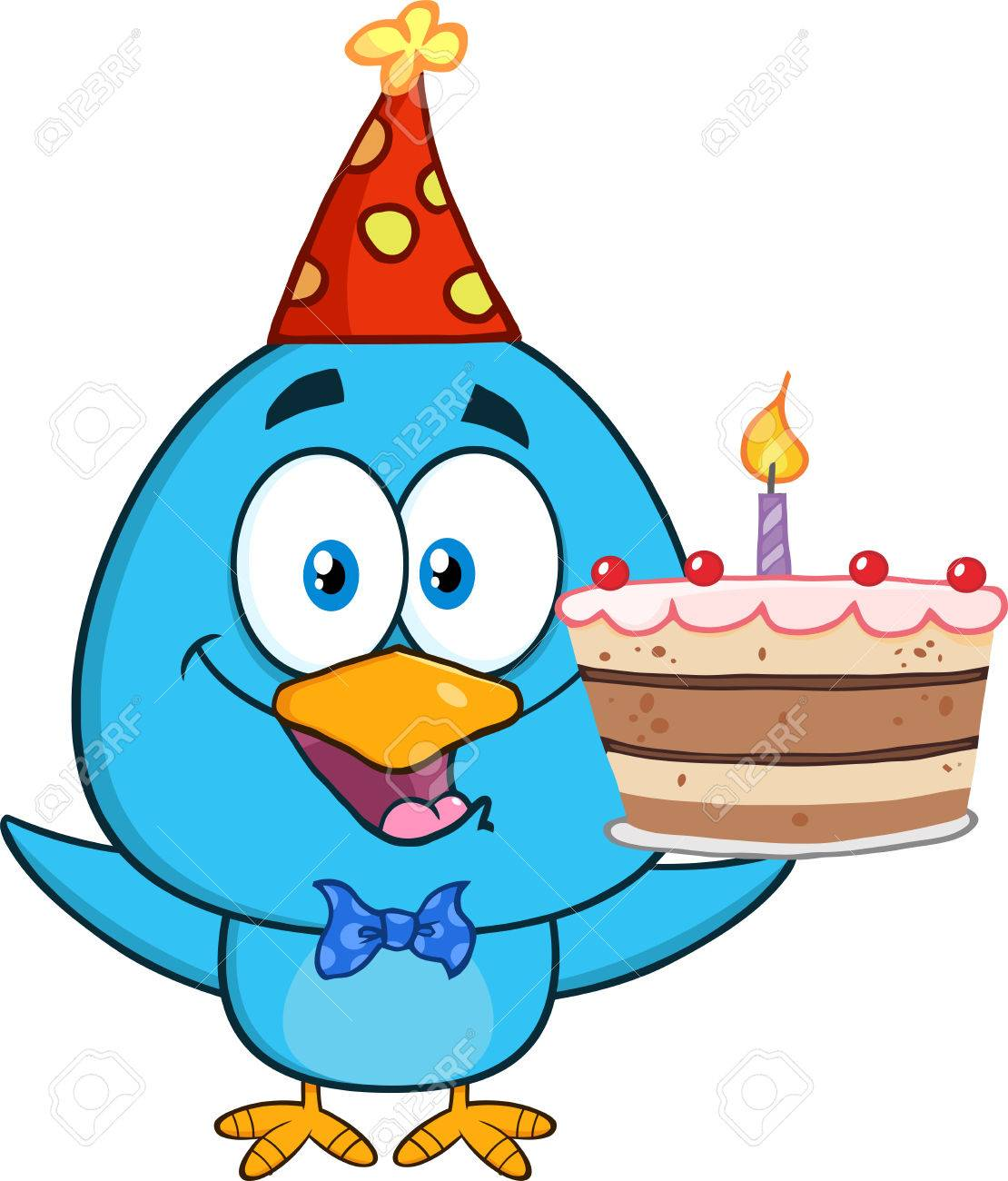 Happy Blue Bird Cartoon Character Holding Up A Birthday Cake Stock Photo