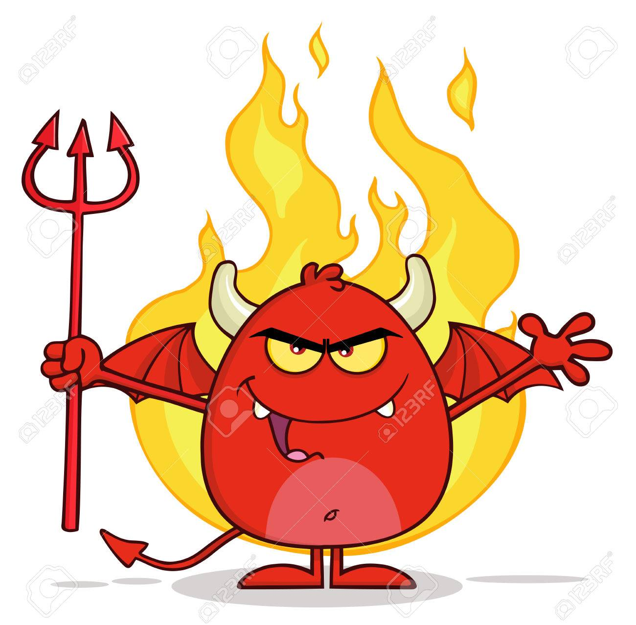 Angry Red Devil Character Holding A Pitchfork Over Flames - 46997162