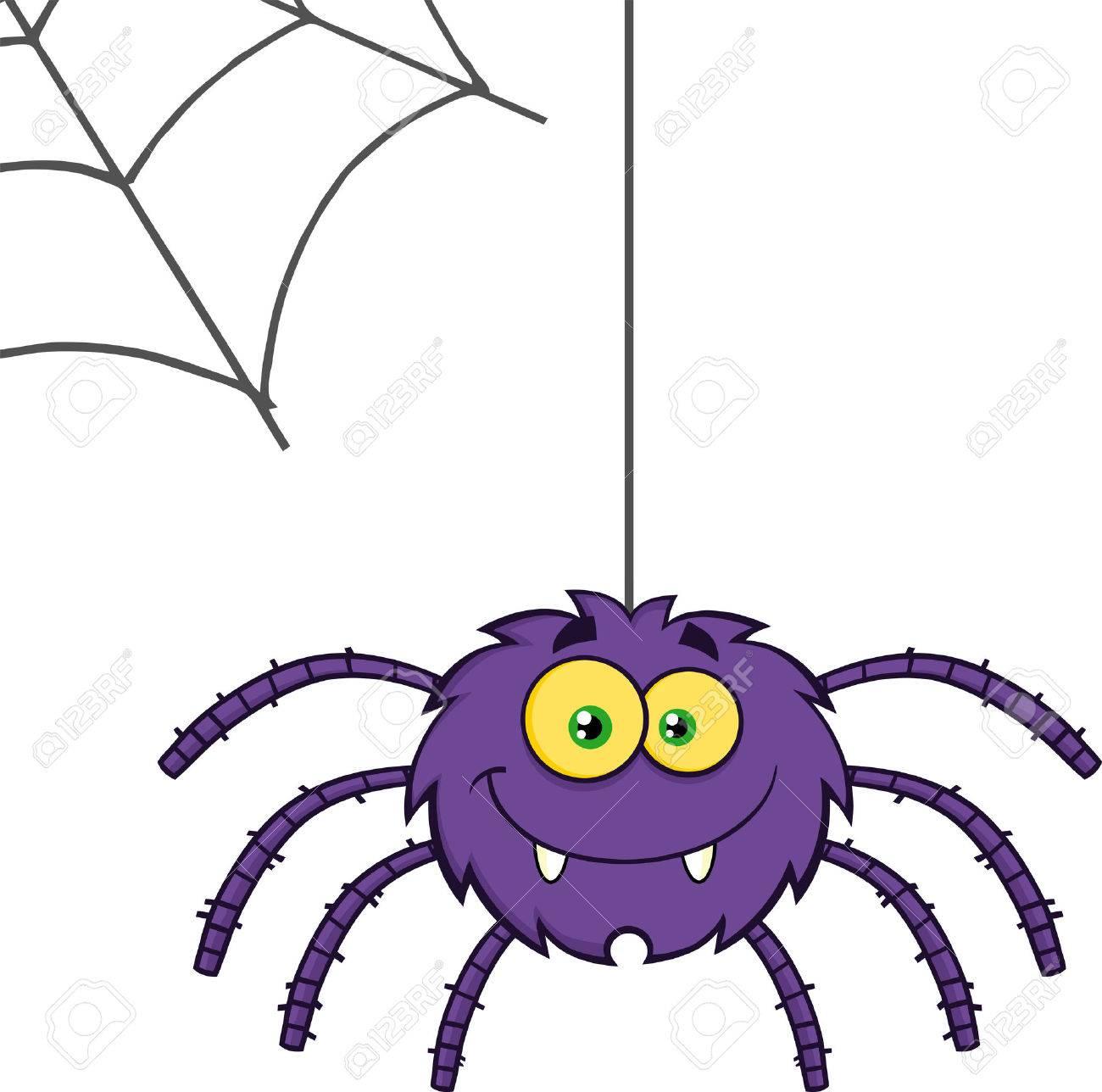 Purple Halloween Spider Cartoon Character On A Web Stock Photo ...
