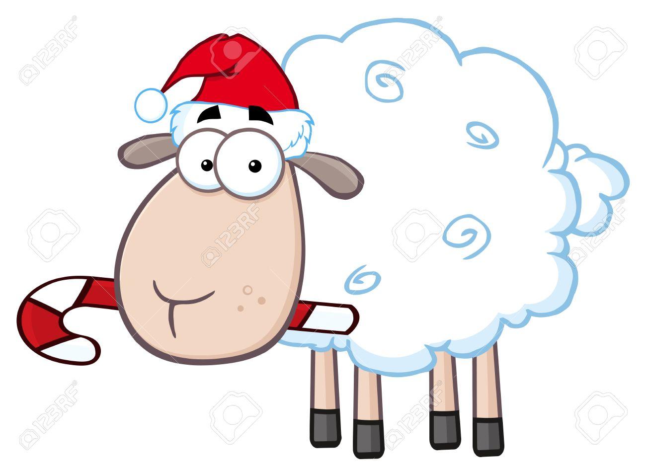 Weihnachten Schafe Cartoon-Figur. Illustration Isoliert Auf Weißem ...