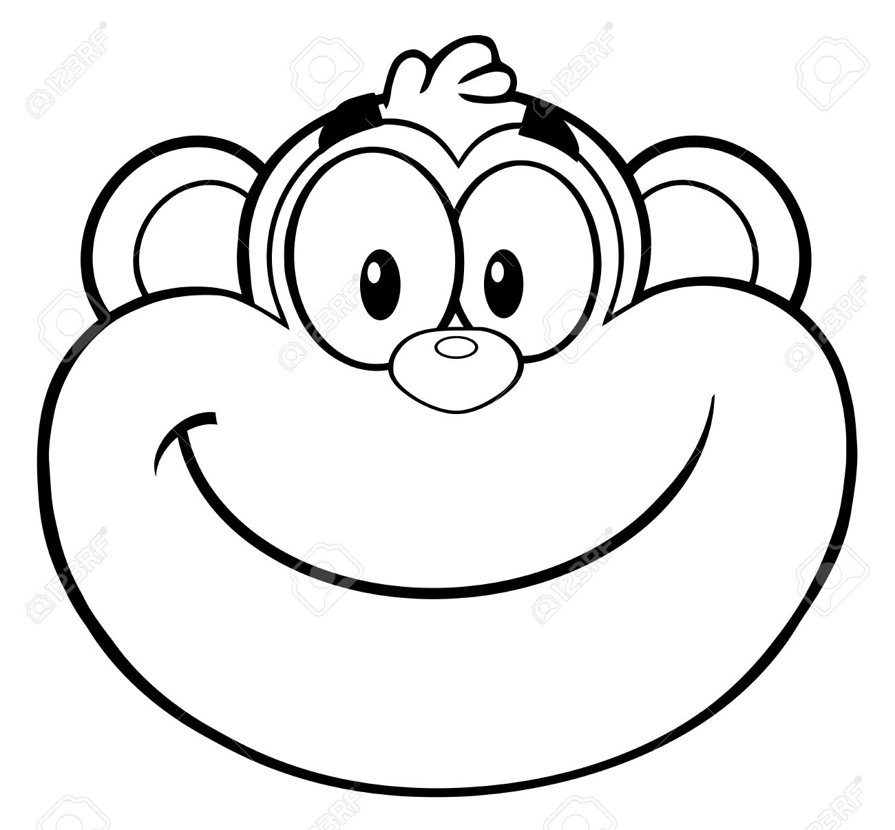 Black And White Smiling Monkey Face Cartoon Character Stock Photo Picture And Royalty Free Image Image 51008670