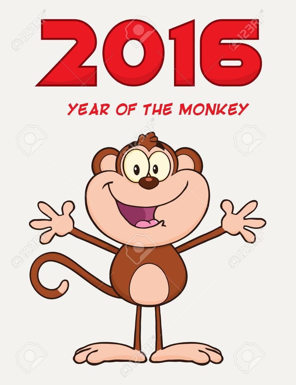 両手を広げてかわいい猿の漫画のキャラクター。年賀イラスト