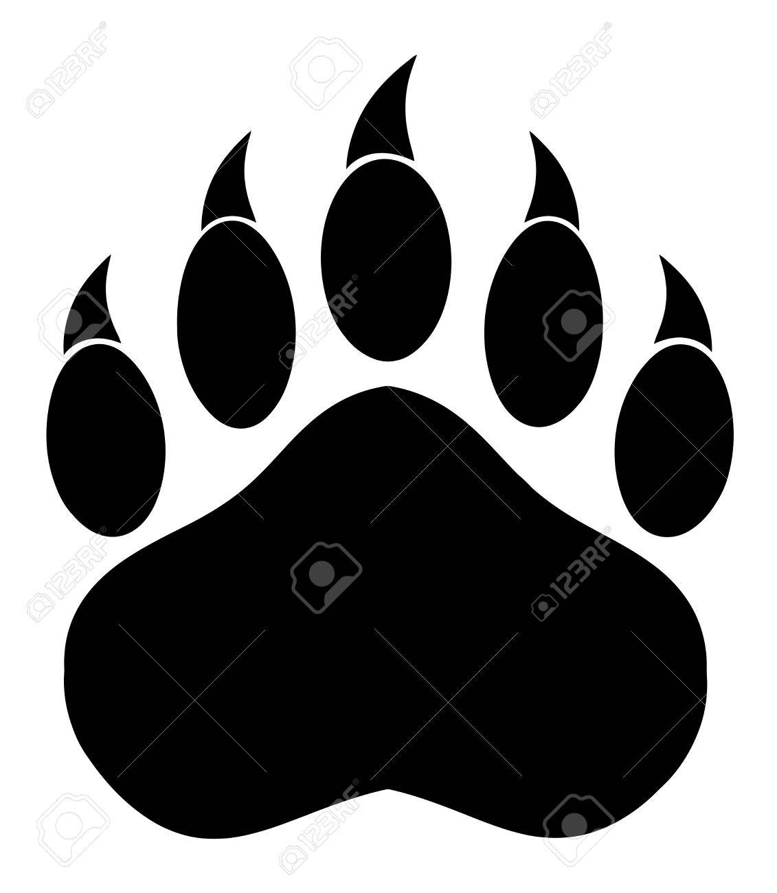 Black Bear Paw With Claws. Illustration Isolated On White - 53673977