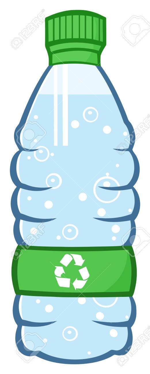 water plastic bottle cartoon illustration with recycled sign stock