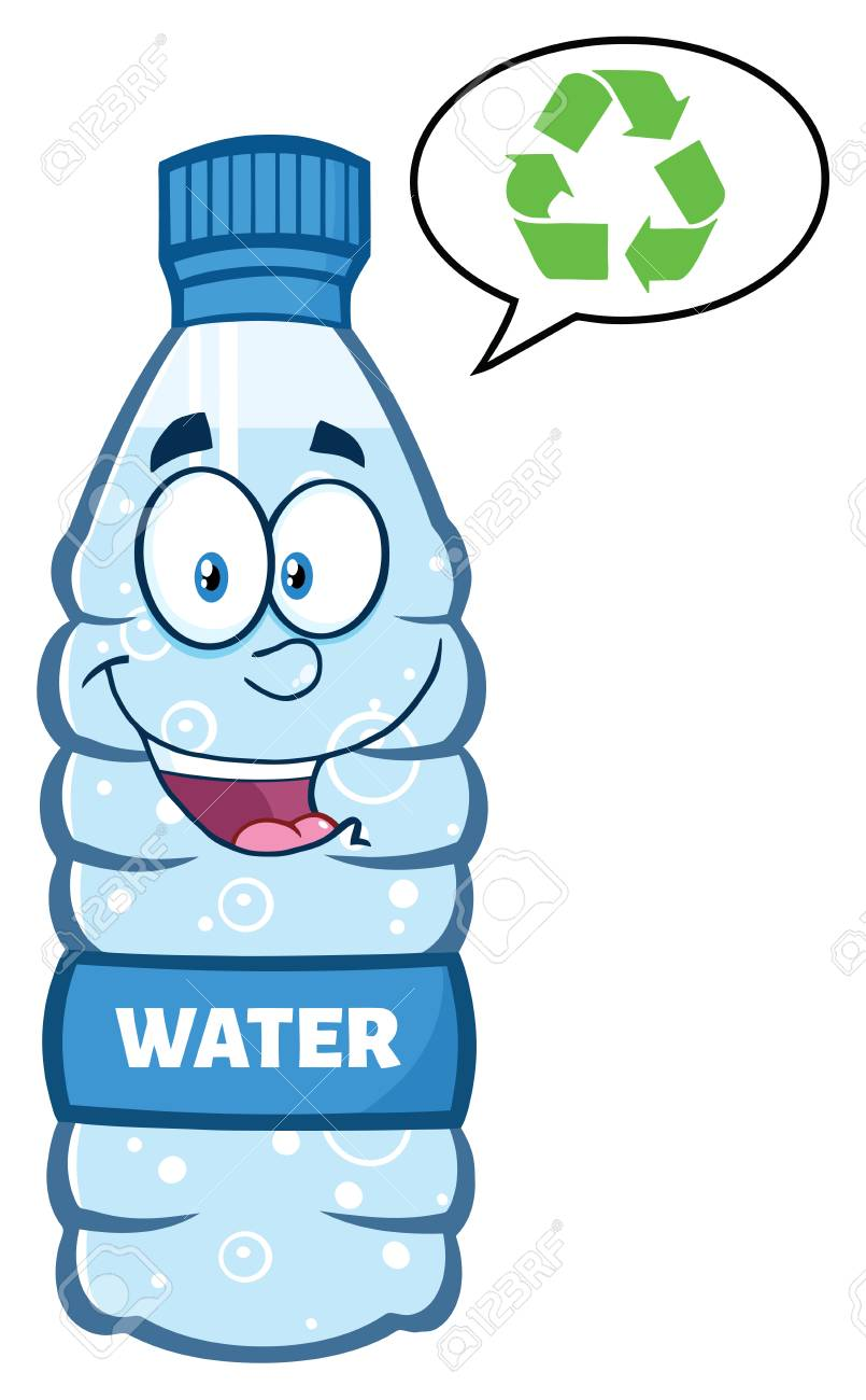 smiling water plastic bottle cartoon mascot character speech stock