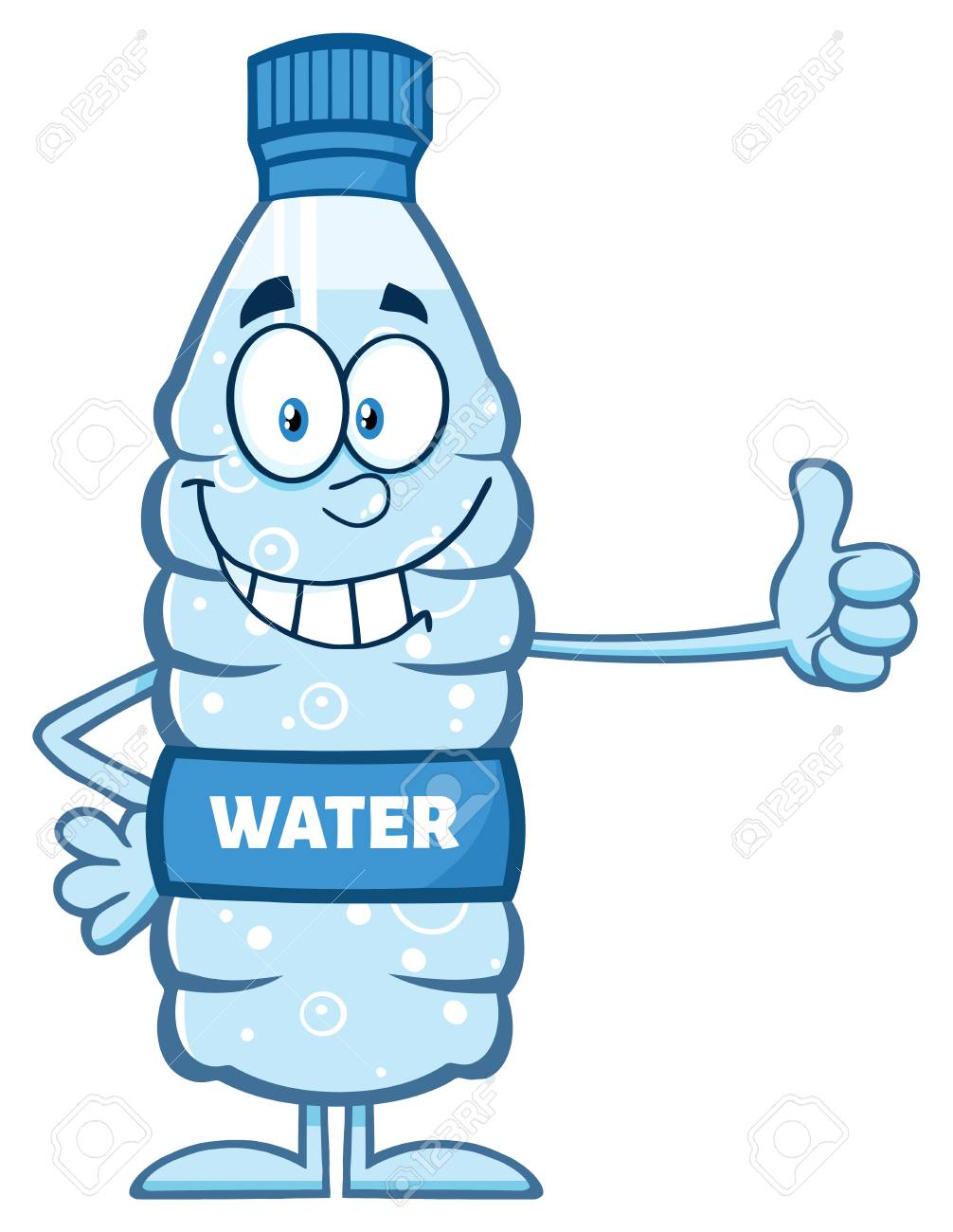 smiling water plastic bottle cartoon mascot character giving stock