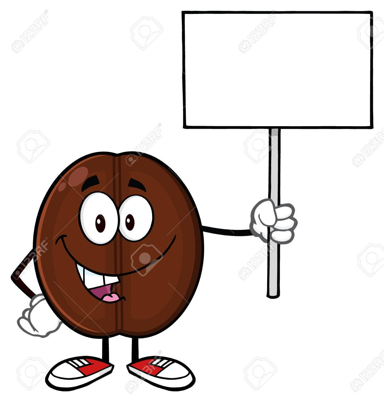 Happy Coffee Bean Cartoon Mascot Character Holding A Blank Sign Stock Photo