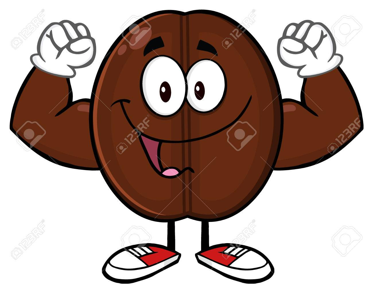 Happy Coffee Bean Cartoon Mascot Character Flexing Stock Photo Picture And Royalty Free Image Image 57271166