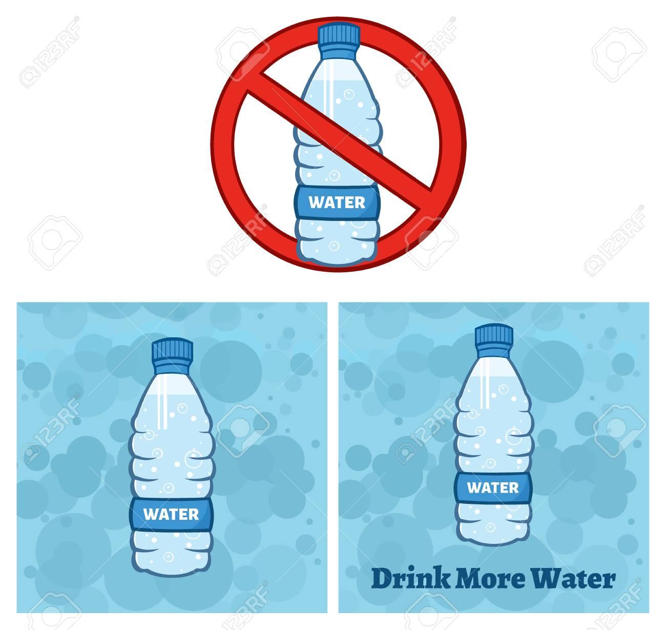 Restricted Symbol Over A Water Plastic Bottle Cartoon Illustration