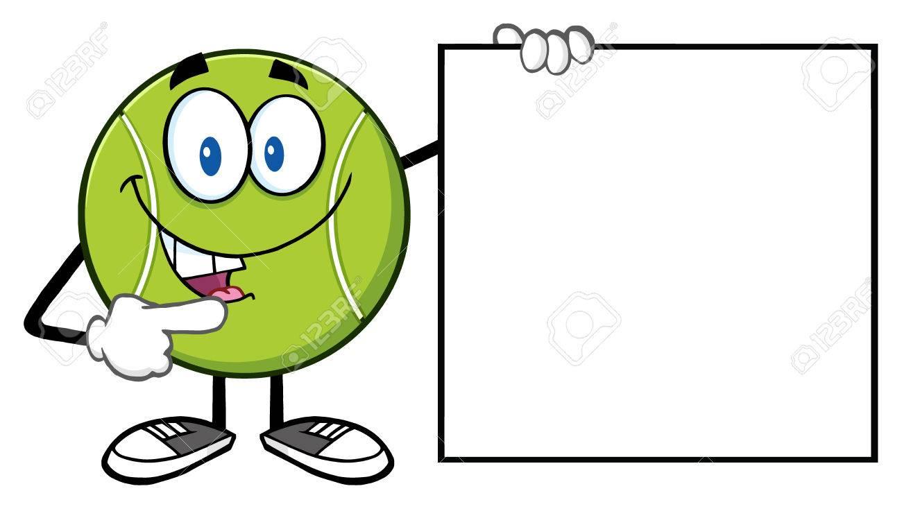Tennis ball mascot stock photos tennis ball mascot stock photography - Stock Photo Talking Tennis Ball Cartoon Mascot Character Pointing To A Blank Sign