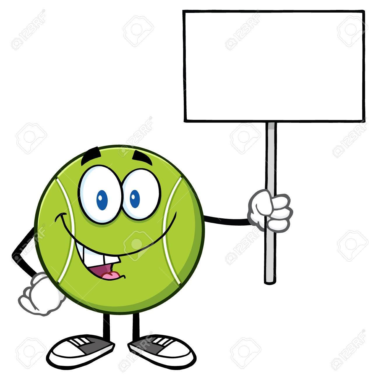 Tennis ball mascot stock photos tennis ball mascot stock photography - Stock Photo Talking Tennis Ball Cartoon Mascot Character Holding A Blank Sign