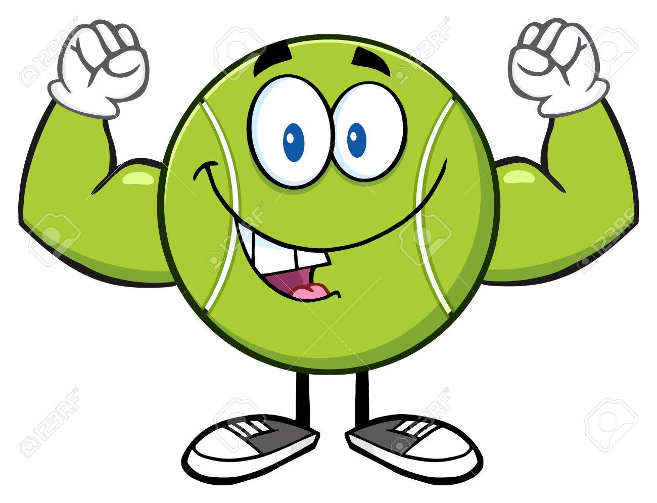 Tennis ball mascot stock photos tennis ball mascot stock photography - Happy Tennis Ball Cartoon Mascot Character Flexing Stock Photo 57271071