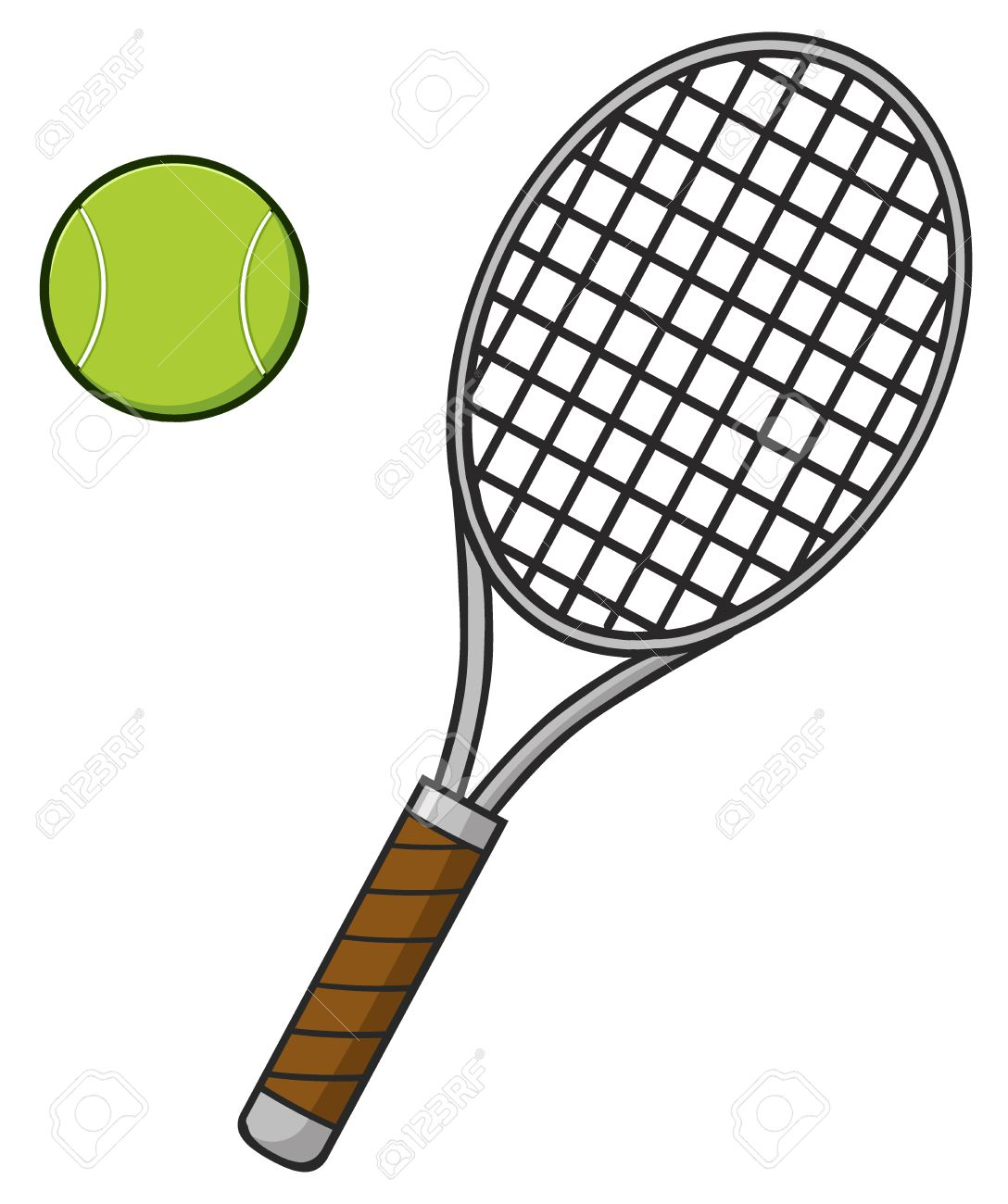 Cartoon Tennis Ball And Racket Stock Photo Picture And Royalty Free