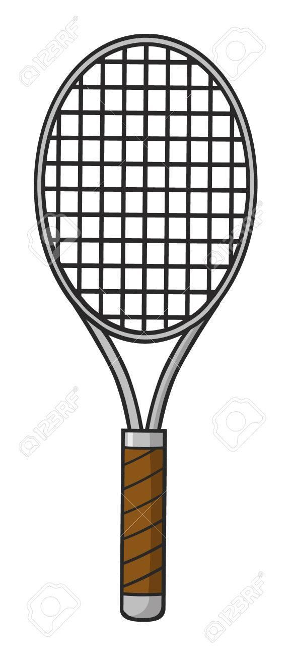 Cartoon Tennis Racket Illustration Isolated On White Stock Photo