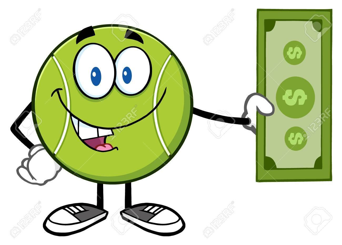 Tennis ball mascot stock photos tennis ball mascot stock photography - Tennis Ball Cartoon Mascot Character Holding A Dollar Bill Stock Photo 57271034