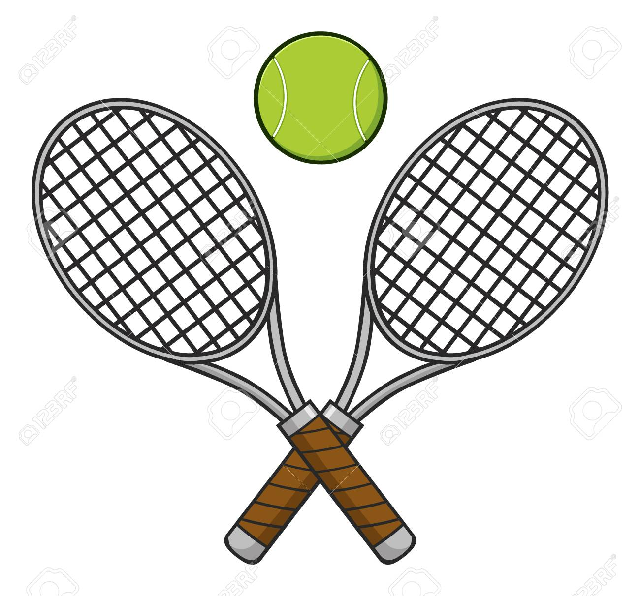 crossed racket and tennis ball illustration isolated on white stock rh 123rf com Female Tennis Clip Art Funny Tennis Clip Art