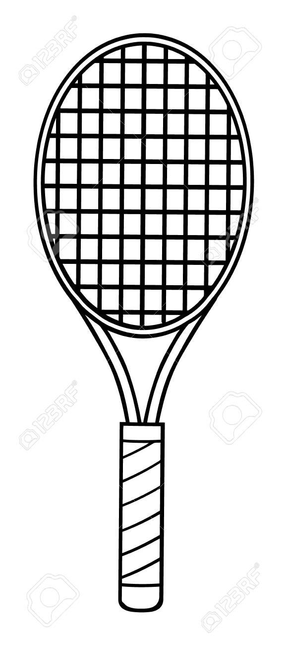 Black And White Cartoon Tennis Racket Illustration Isolated Stock