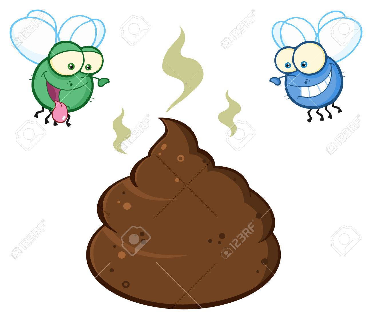 Two Flies Hovering Over Pile Of Smelly Poop Cartoon Characters