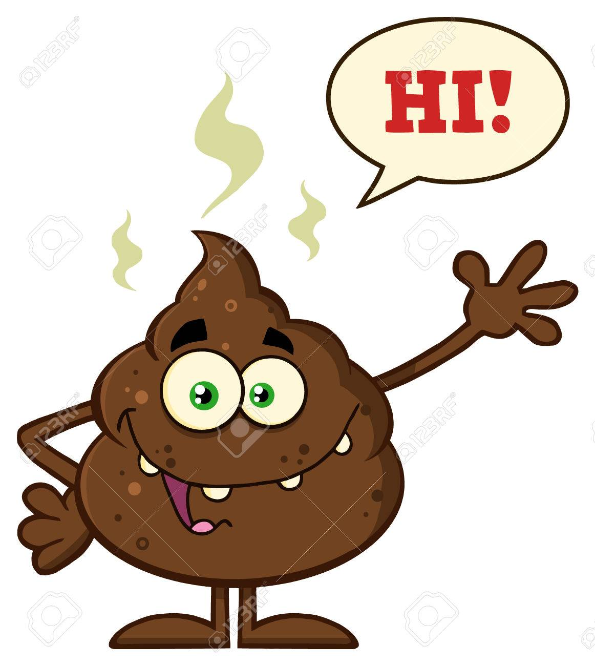 Funny poop cartoon character waving for greeting with speech stock funny poop cartoon character waving for greeting with speech bubble and text hi stock photo m4hsunfo