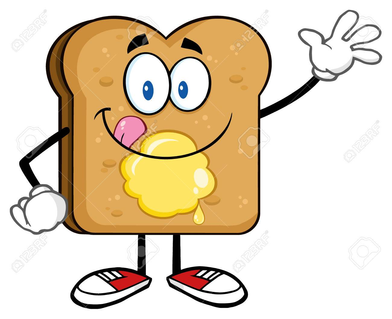 heureux personnage toast bread cartoon léchant ses lèvres avec