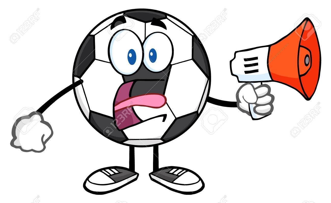 Foto de archivo - Personaje de dibujos animados del balón de fútbol con un  megáfono 51b0dddb94ff3