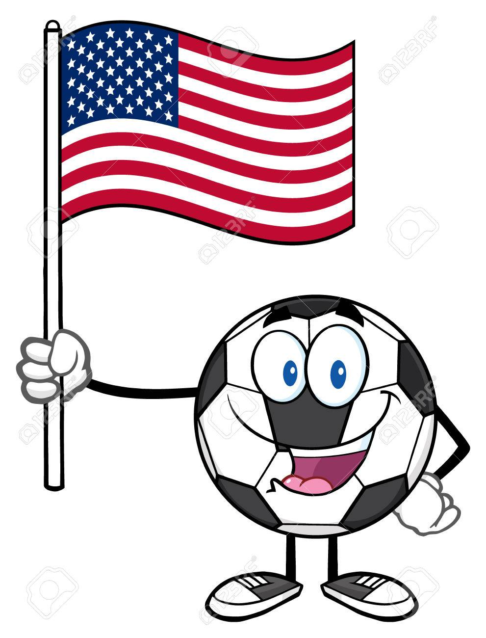 Feliz Personaje De Dibujos Animados Del Balón De Fútbol Con Una Bandera De Los Estados Unidos