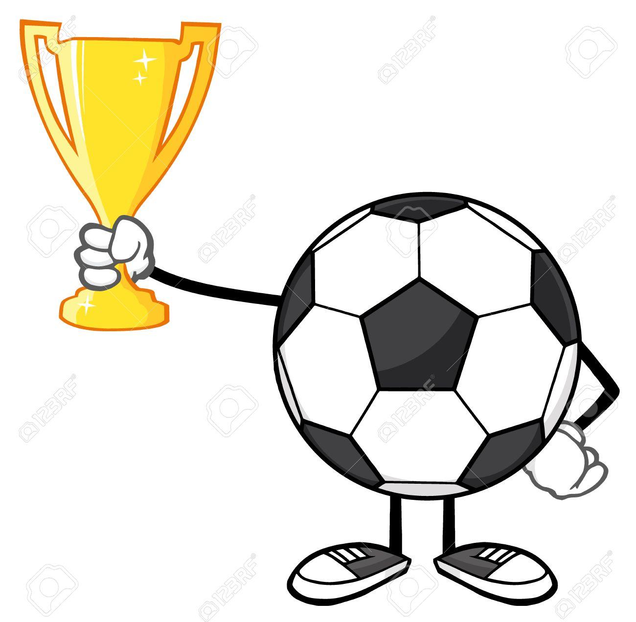 Foto de archivo - Personaje de dibujos animados del balón de fútbol  Sostiene Un Trofeo de la Copa de Oro b6c39dbd46017