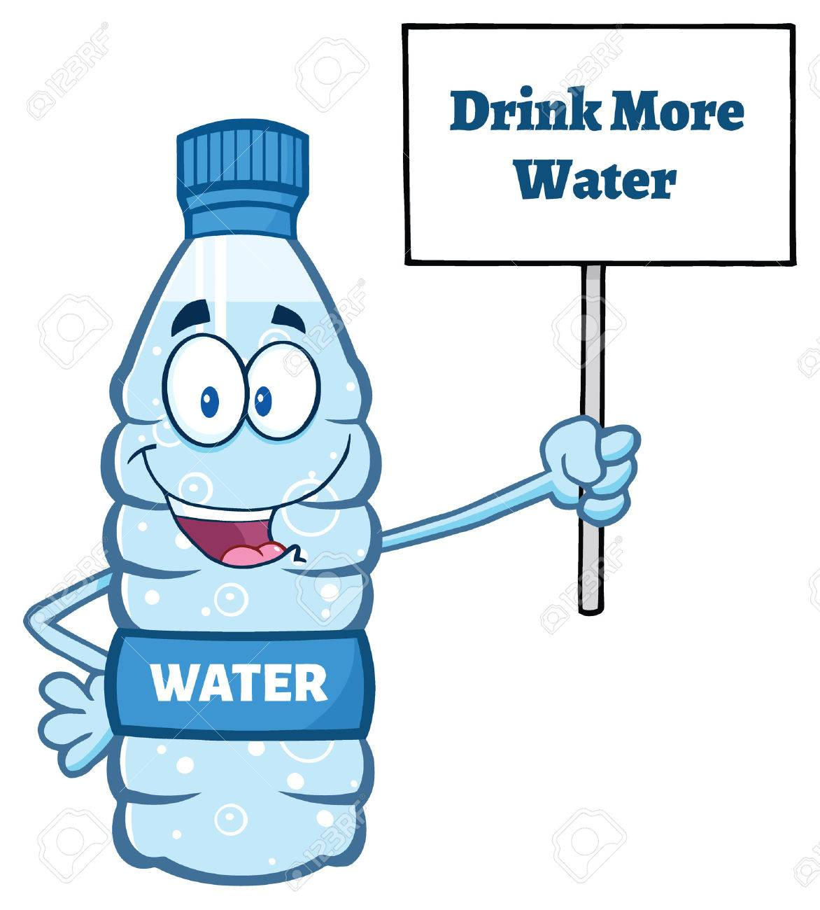 Cartoon Illustation Of A Water Plastic Bottle Mascot Character Holding Up A Sign With Text Drink More Water - 58231680