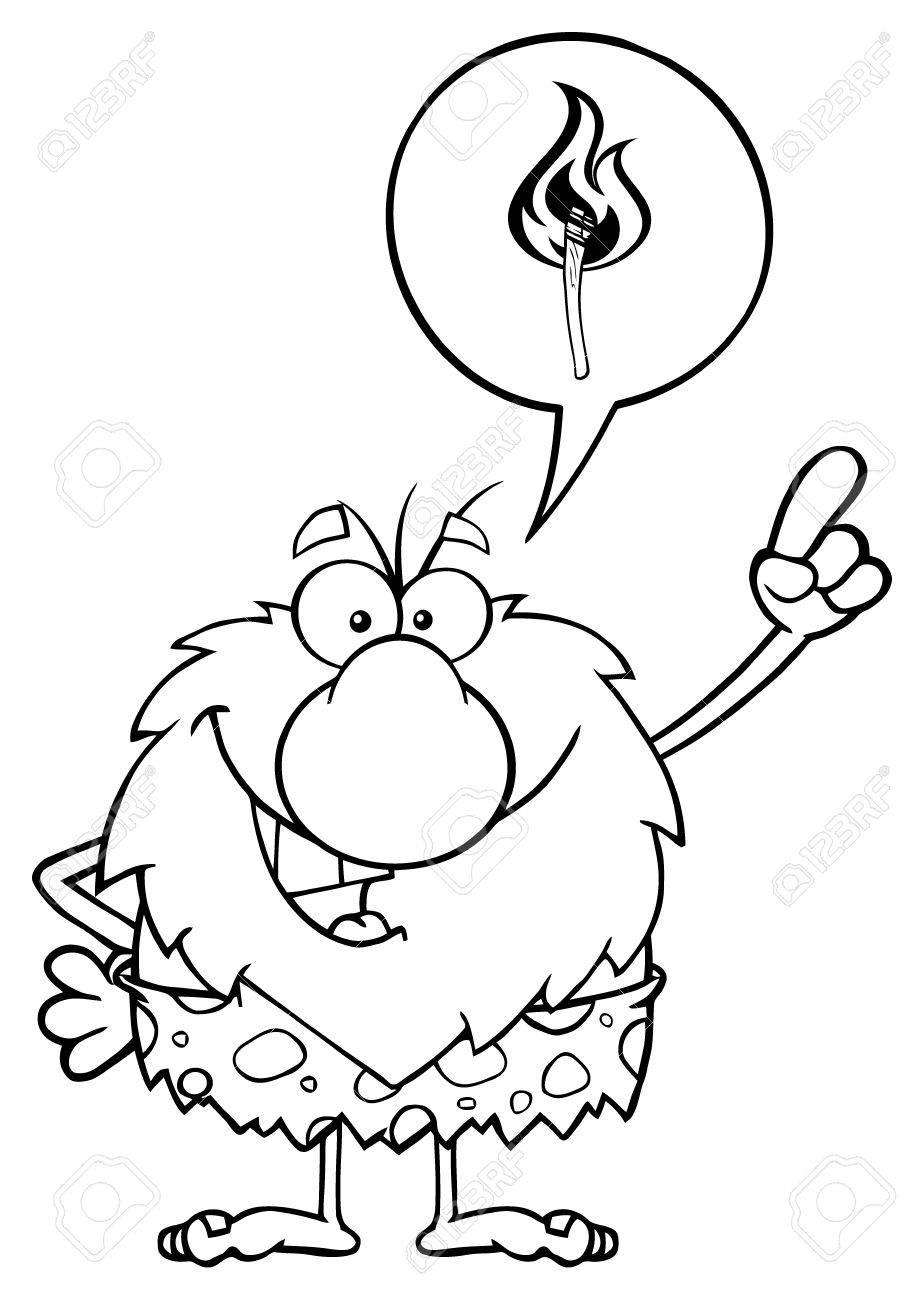 Masculino Sonriente Personaje De Dibujos Animados Hombre De Las Cavernas Con Buena Idea Ilustración Con La Burbuja Del Discurso Y Del Ardiente