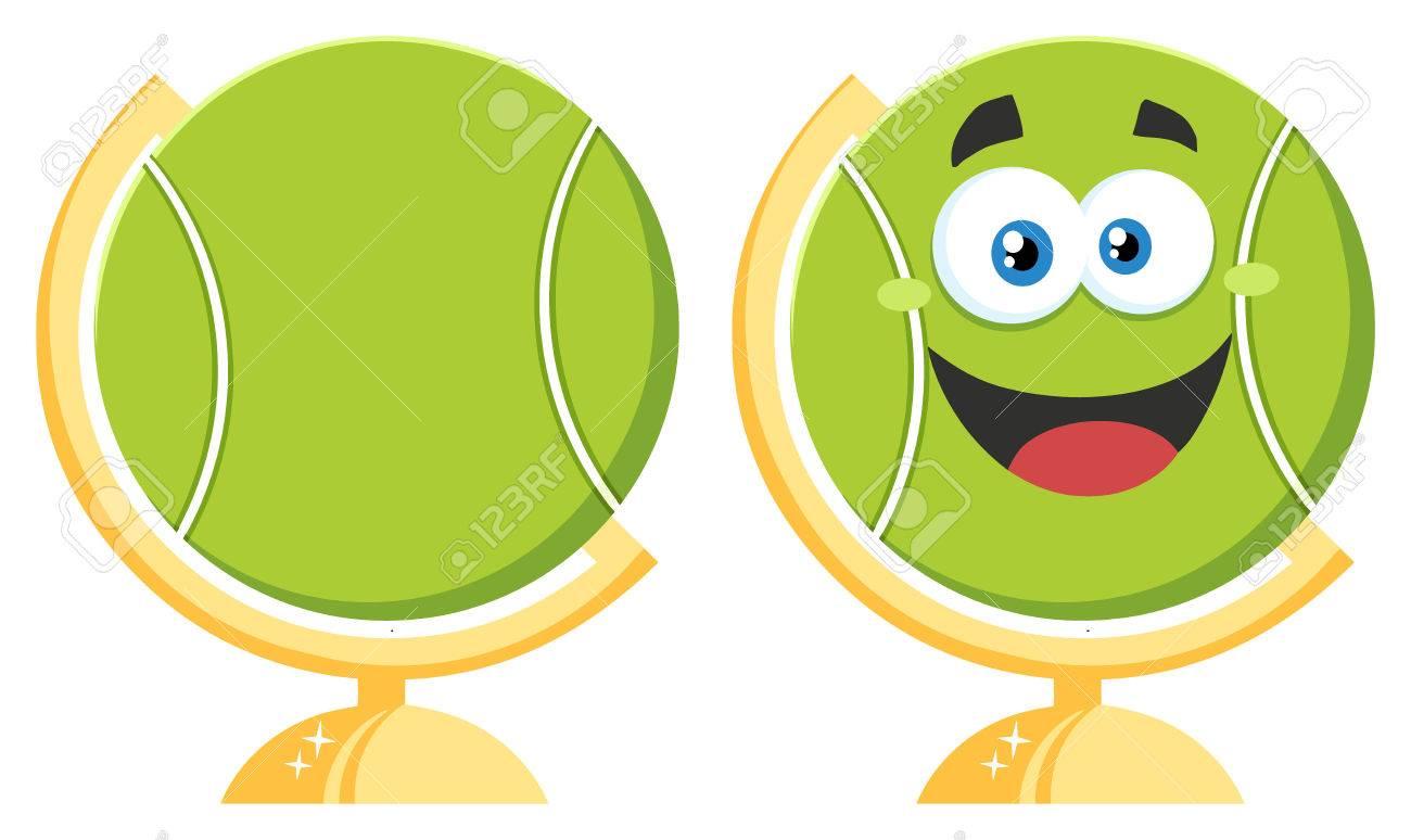 Tennis ball mascot stock photos tennis ball mascot stock photography - Happy Tennis Ball Cartoon Mascot Character On Desk Globe Collection Set Stock Photo 59122251