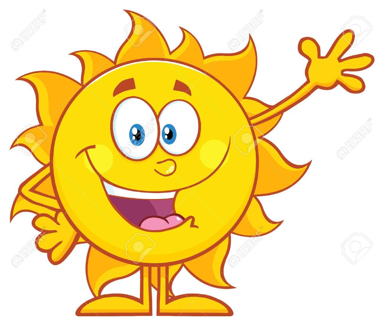 Happy Sun Cartoon Mascot Character Waving For Greeting - 59119593
